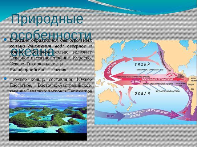 Природные особенности океана В океане образуются два огромных кольца движения...