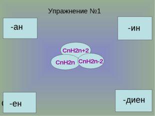 С25Н48 С22Н42 С16Н30 С11Н22 С50Н102 С32Н66 С15Н30 Упражнение №1 -ан -ен -ин -