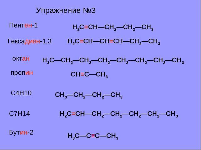 Пентен-1 Гексадиен-1,3 октан пропин С4Н10 С7Н14 Бутин-2 Н2С=СН—СН2—СН2—СН3 Н2...