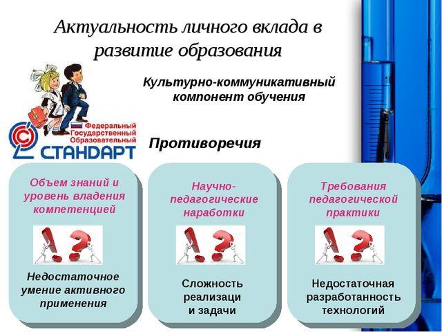 Актуальность личного вклада в развитие образования Культурно-коммуникативный...