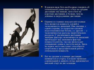 В каждом виде бега необходимо говорить об оптимальной длине шага; в беге на с