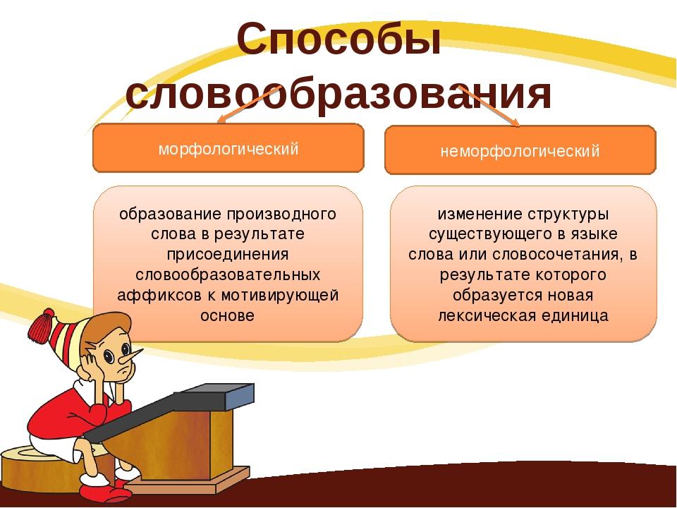 Способы словообразования морфологический неморфологический образование произв...