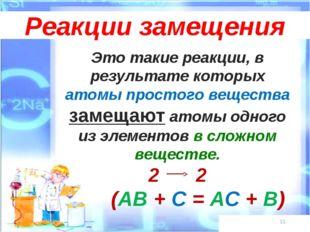 * Реакции замещения Это такие реакции, в результате которых атомы простого ве