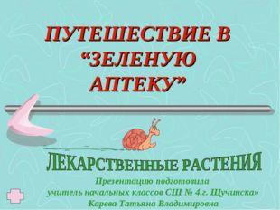 """ПУТЕШЕСТВИЕ В """"ЗЕЛЕНУЮ АПТЕКУ"""" Презентацию подготовила учитель начальных клас"""