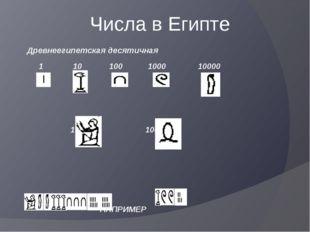 Числа в Египте Древнеегипетская десятичная 1 10 100 1000 10000 1000000 10000
