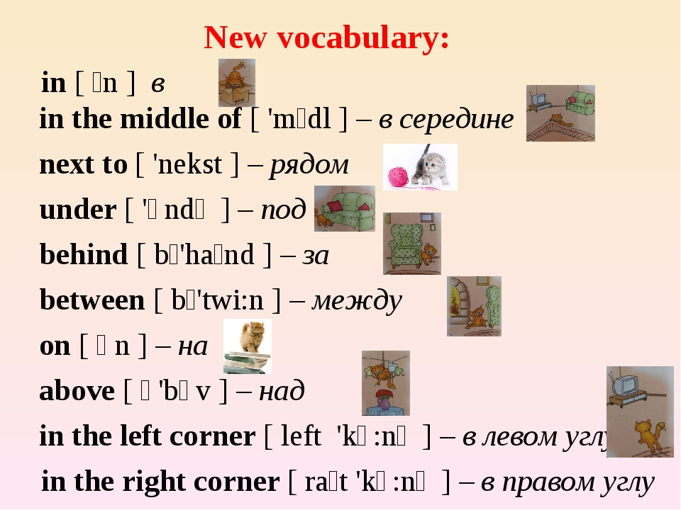 New vocabulary: in [ ɪn ] в in the middle of [ 'mɪdl ] – в середине next to...