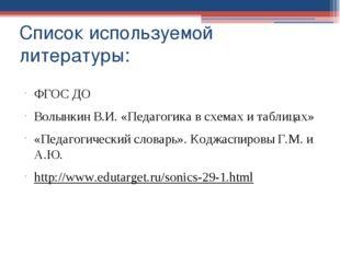 Список используемой литературы: ФГОС ДО Волынкин В.И. «Педагогика в схемах и