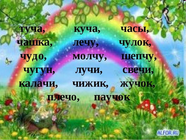 туча, куча, часы, чашка, лечу, чулок, чудо, молчу, шепчу, чугун, лучи, свечи,...