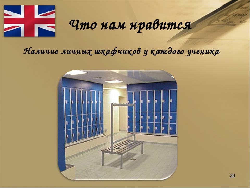 Что нам нравится Наличие личных шкафчиков у каждого ученика *