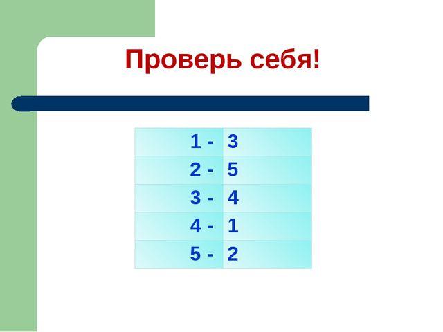 Проверь себя! 1 - 3 2 - 5 3 - 4 4 - 1 5 - 2