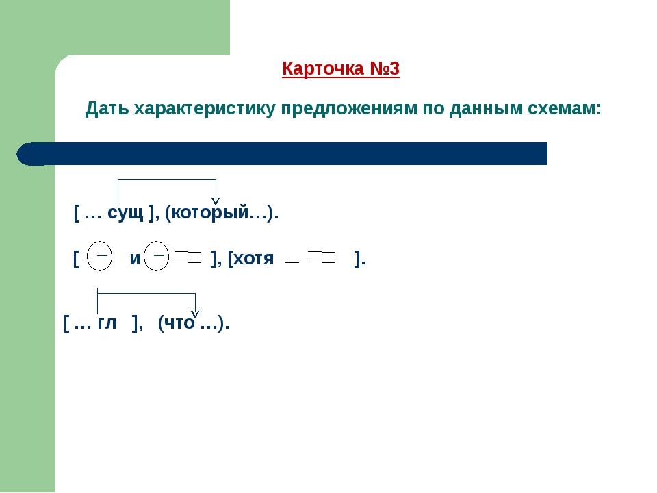Карточка №3 Дать характеристику предложениям по данным схемам: — — [ … сущ ],...