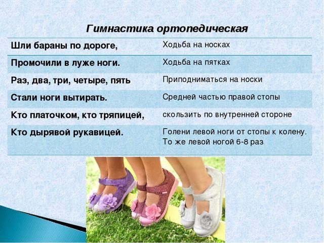 Гимнастика ортопедическая Шли бараны по дороге,Ходьба на носках Промочили в...