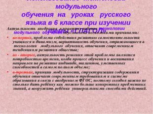 Использование технологии модульного обучения на уроках русского яз