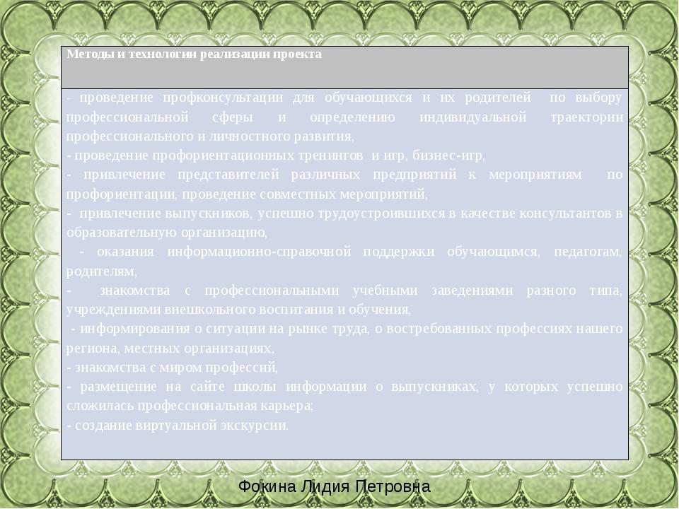 Фокина Лидия Петровна Методыи технологии реализации проекта -проведениепрофко...