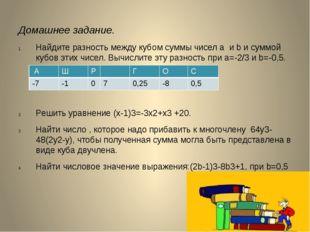 Домашнее задание. Найдите разность между кубом суммы чисел a и b и суммой куб
