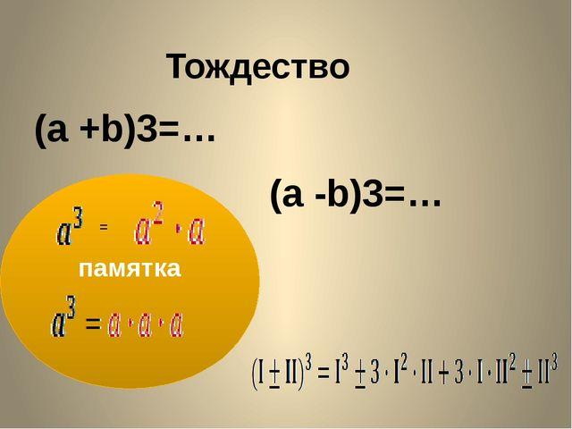 Тождество (a +b)3=… (a -b)3=… памятка = Дается лишь только левая часть равенс...