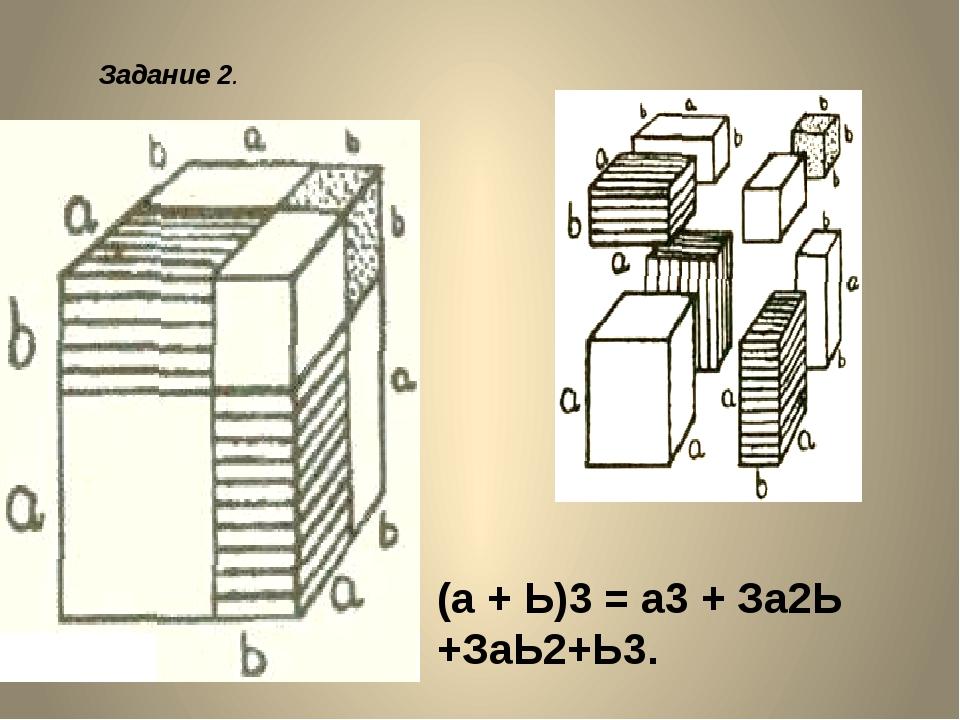 (а + Ь)3 = а3 + За2Ь +ЗаЬ2+Ь3. Задание 2. Получаю формулу