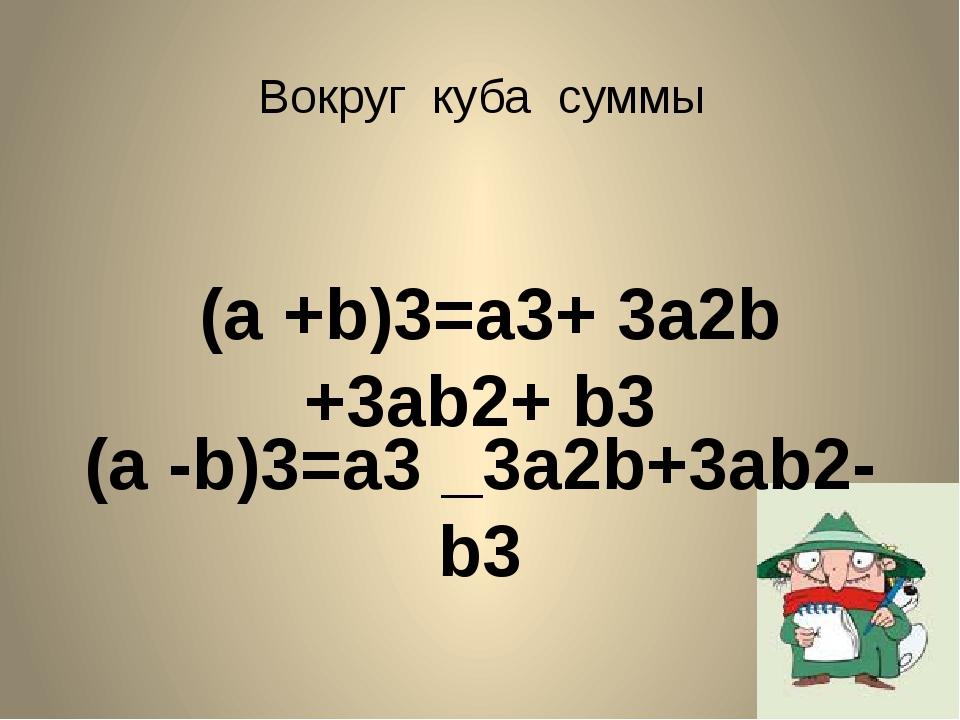 (a +b)3=а3+ 3а2b +3ab2+ b3 (a -b)3=а3 _3а2b+3ab2-b3 Вокруг куба суммы
