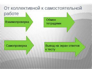 От коллективной к самостоятельной работе Взаимопроверка Обмен тетрадями Самоп