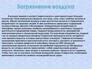 В воздухе краевого центра Ставропольского края присутствует большое количест