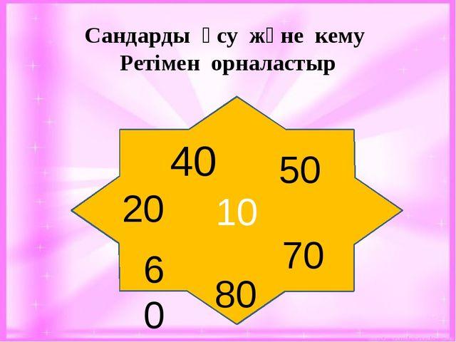10 40 50 60 80 70 20 Сандарды өсу және кему Ретімен орналастыр