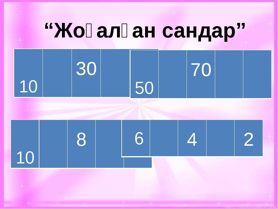 """""""Жоғалған сандар"""" 10 30 50 10 8 50 50 70 6 4 2"""