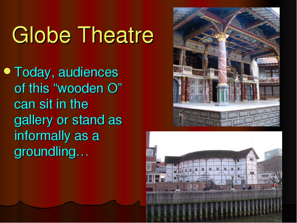 """Globe Theatre Today, audiences of this """"wooden O"""" can sit in the gallery or s..."""
