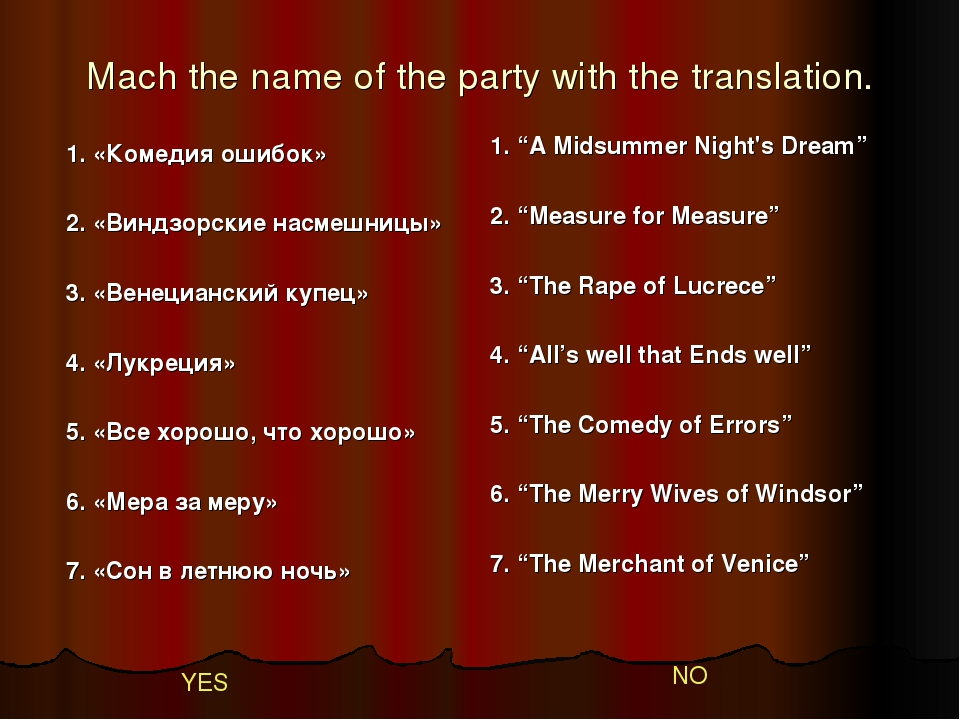 Mach the name of the party with the translation. 1. «Комедия ошибок» 2. «Винд...