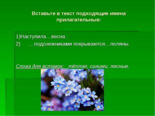 Вставьте в текст подходящие имена прилагательные: 1)Наступила…весна . 2) …под