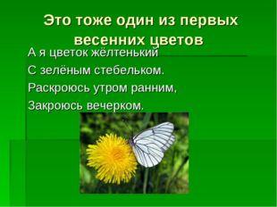 Это тоже один из первых весенних цветов А я цветок жёлтенький С зелёным стебе