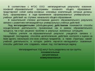 В соответствии с ФГОС ООО метапредметные результаты освоения основной образов