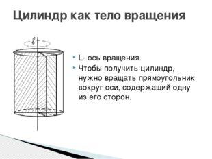 Цилиндр как тело вращения L- ось вращения. Чтобы получить цилиндр, нужно вращ