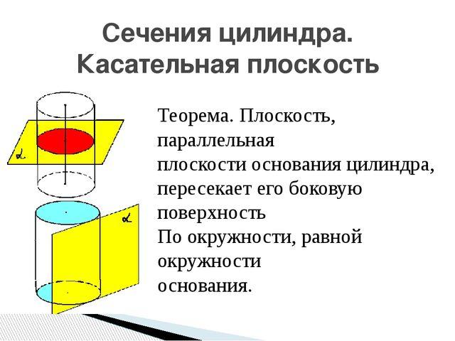 Сечения цилиндра. Касательная плоскость Теорема. Плоскость, параллельная плос...