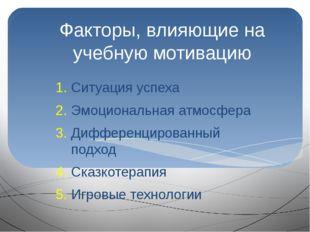 Факторы, влияющие на учебную мотивацию Ситуация успеха Эмоциональная атмосфер