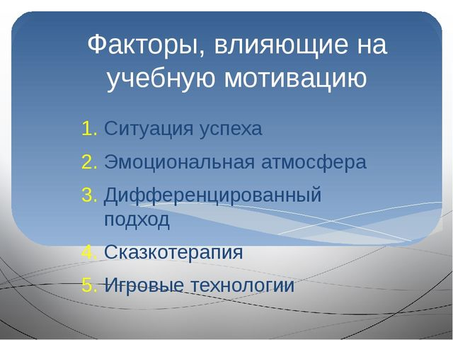 Факторы, влияющие на учебную мотивацию Ситуация успеха Эмоциональная атмосфер...