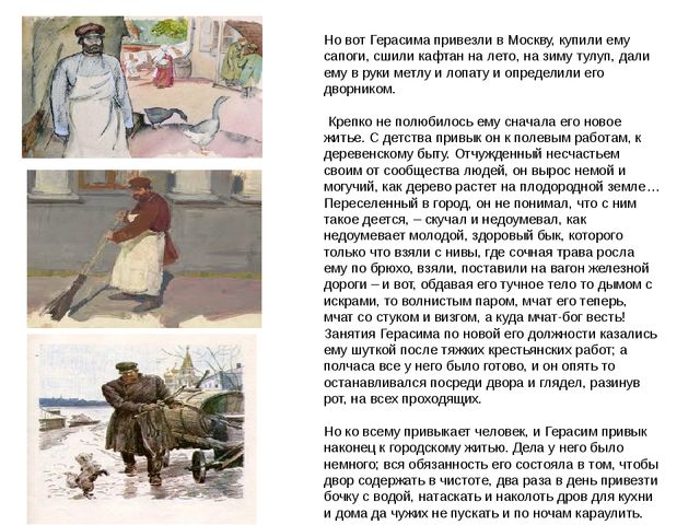 Но вот Герасима привезли в Москву, купили ему сапоги, сшили кафтан на лето, н...