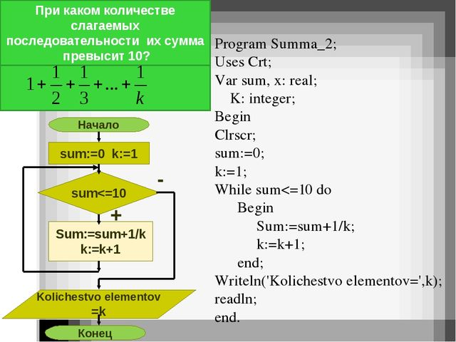 Program Summa_2; Uses Crt; Var sum, x: real; K: integer; Begin Clrscr; sum:=...