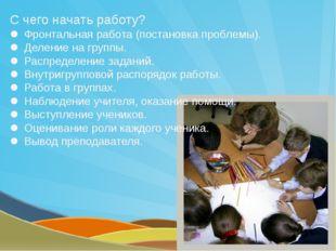 Этапы технологического процесса групповой работы I. Подготовка к выполнению