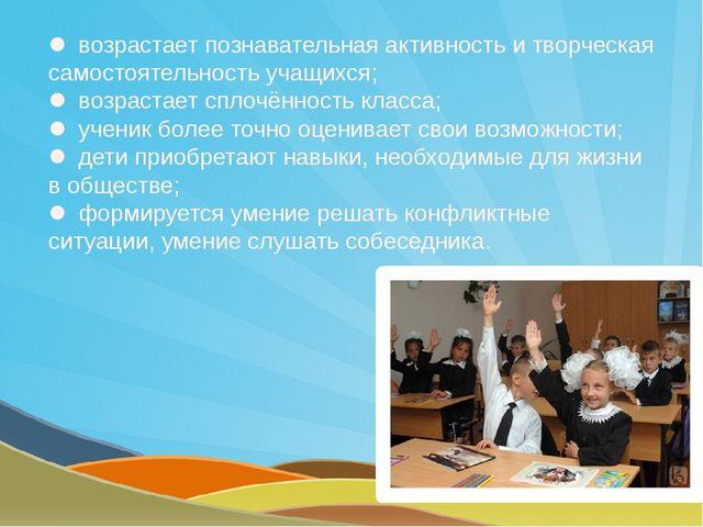  возрастает познавательная активность и творческая самостоятельностьучащихс...