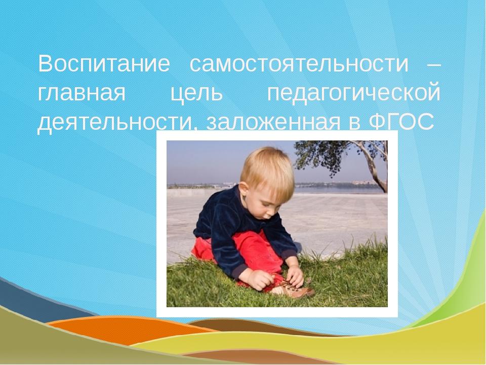 Воспитание самостоятельности – главная цель педагогической деятельности, зало...
