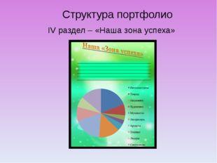 Структура портфолио IV раздел – «Наша зона успеха»