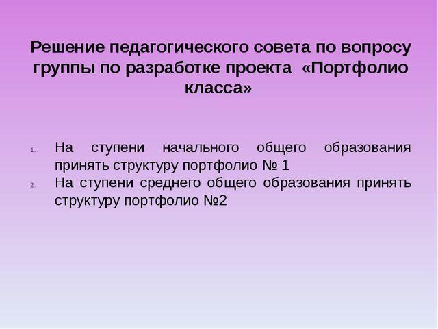Решение педагогического совета по вопросу группы по разработке проекта «Портф...