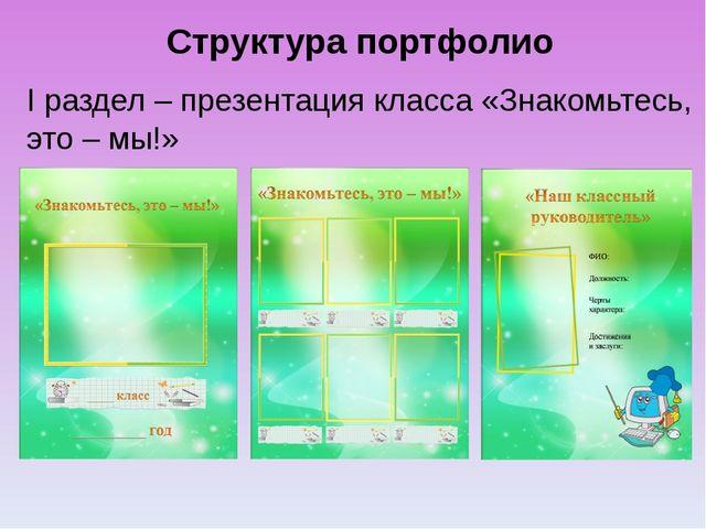 Структура портфолио I раздел – презентация класса «Знакомьтесь, это – мы!»