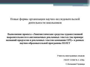 Новые формы организации научно-исследовательской деятельности школьников Вып