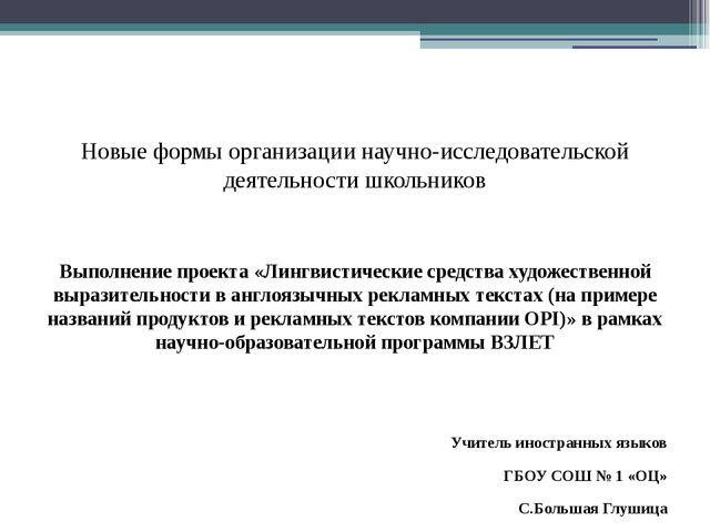 Новые формы организации научно-исследовательской деятельности школьников Вып...