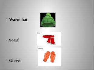 Warm hat Scarf Gloves