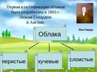 Первая классификация облаков была разработана в 1803 г. Люком Говардом в Англ