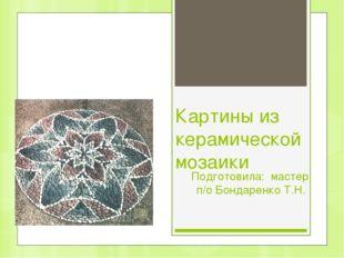 Картины из керамической мозаики Подготовила: мастер п/о Бондаренко Т.Н.