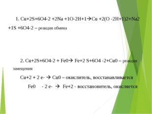 1. Cu+2S+6O4-2 +2Na +1O-2H+1Cu +2(O -2H+1)2+Na2 +1S +6O4-2 – реакция обмена