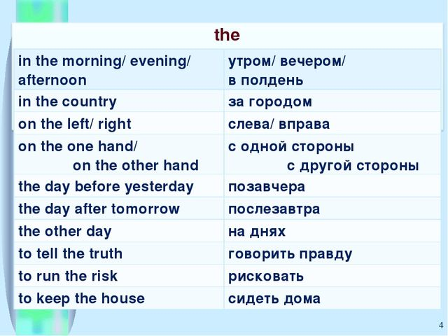 * in the morning/ evening/ afternoon	утром/ вечером/ в полдень in the country...